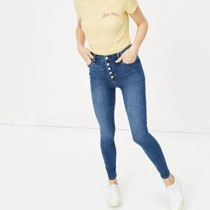 High Rise Legging Jean with Button Fly